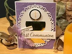 First Communion card by handmadebykathiek on Etsy - love the die cut oval frame with the gold mirror paper Disney Cars Birthday, Cars Birthday Parties, Teen Birthday, Birthday Cards, First Communion Cards, Communion Gifts, Sympathy Notes, Sympathy Cards, Mirror Paper