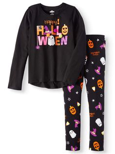 Girls' Halloween Long Sleeve Graphic Raglan T-Shirt and Print Leggings, 2-Piece Outfit Set - Walmart.com Halloween Clothes, Halloween Outfits, Halloween 2020, 2 Piece Outfits, Print Leggings, Women's Clothes, Clothes For Women, Pjs, Shirt Print