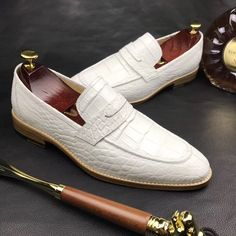 BRUCEGAO Alligator Leather Penny Slip-On Leather Lined Loafer - Alligator Shoes and Crocodile Shoes for Sale - Schuhe Loafer Shoes, Loafers Men, Men's Shoes, Shoe Boots, Shoes Men, White Dress Shoes, Gentleman Shoes, Mens Boots Fashion, Men Fashion