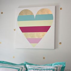Gold leaf heart custom canvas from The Creativity Exchange