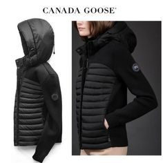 CANADA GOOSE ジャケット CANADA GOOSE HyBridge Knit Hoody スリムフィットが◎Black Canada Goose Women, Hoody, Winter Jackets, Knitting, Black, Fashion, Winter Coats, Moda, Winter Vest Outfits