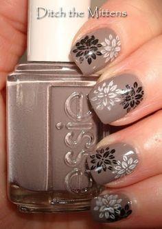 Nails - (Essie) Chinchilli Design - (KSP) Black and White (IP) BM06. i like it bcuz its so complex, but the colours make it looks more modest.
