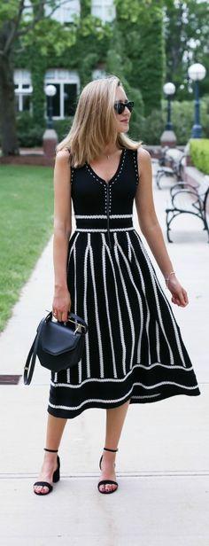 black and white striped knit midi dress, ankle strap block heel sandals {maje, steve madden, stella mccartney}
