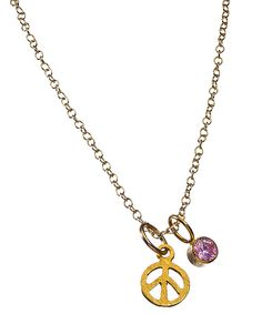 Zina Kao Small Gold Birthstone Peace Necklace  Price: $73.00