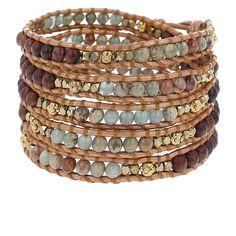 Aqua Terra and Wood Mix Wrap Bracelet on Bronze Leather - Chan Luu