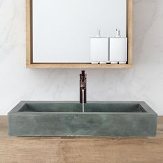 Toxey Rectangular Cast Concrete Vessel Sink - Copper Green – Magnus Home Products Small Bathroom Sink Vanity, White Bathroom Tiles, Small Sink, Glass Sink, Concrete Bathroom, Vessel Sink Bathroom, Vanity Sink, Modern Bathroom, Shower Cabinets