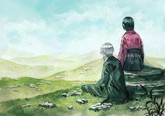 Mushishi | Artland | Yuki Urushibara / Ginko and Karibusa Tannyu / 「蟲師ログまとめ」/「村」のイラスト [pixiv] [05]
