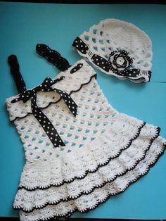 Crochet Baby Girl Croche pro Drink: Dresses in crochet Crochet Toddler, Baby Girl Crochet, Crochet Baby Clothes, Crochet For Kids, Crochet Dresses, Crochet Crafts, Crochet Projects, Knit Crochet, Crochet Jacket