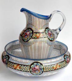 Vintage Porcelain Pitcher & Wash Basin.LOVE all the colors