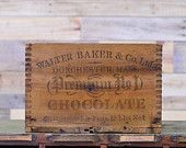 Vintage Wood Chocolate Box, Walter Baker & Co Chocolate