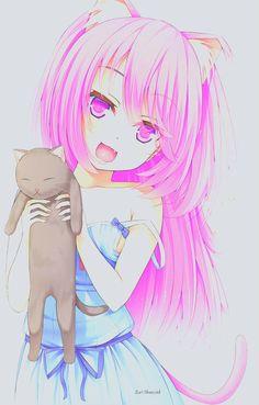 Neko girl with kitty Anime Girls, Anime Child, Manga Girl, Neko Kawaii, Kawaii Anime Girl, Otaku, Beautiful Anime Girl, I Love Anime, Anime Neko