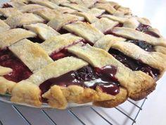 Princesses, Pies, & Preschool Pizzazz: Friday Pie-Day: Four-Fruit Pie Rhubarb Desserts, Cookie Desserts, Rhubarb Recipes, Pie Dessert, Dessert Recipes, Delicious Desserts, Yummy Food, Fruit Pie, Comfort Food