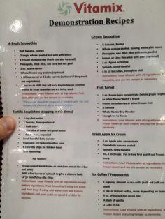 http://www.2uidea.com/category/Vitamix/ Costco's Vitamix demo menu. More