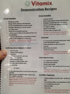 Costco's Vitamix demo menu.