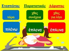 Ενεστώτας, Παρατατικός, Αόριστος Primary School, Elementary Schools, Greek Language, Messages, Activities, Education, Learning, Kids, Greek