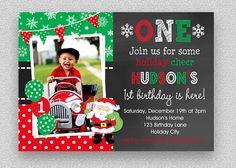Christmas Birthday Invitation Christmas 1st by TheTrendyButterfly