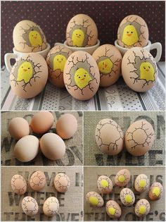 Best 31 Easy and Fun Easter Crafts Sure to Amaze Your Kids Paint Cute Chicks Inside Eggs 15 Foolproof DIY Projects for Funny Eggs Faces Color and decorate great ideas for Easter eggs what will make you happier is the fact that these Creative Ways to Decor Easy Crafts, Diy And Crafts, Easy Diy, Rock Crafts, Creative Crafts, Decor Crafts, Funny Eggs, Funny Easter Eggs, Easter Chick