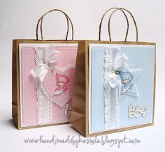 New Baby gift bags / Don and Daisy stamp