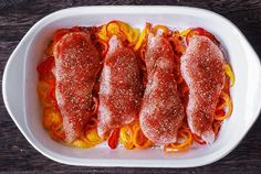 Spicy and Creamy Cajun Chicken with Bell Peppers - easy, lean, and healthy one-pan dinner! The chicken breasts are coated with the homemade Cajun seasoning and topped with cream cheese. Then, the chicken is oven-baked on top of the sliced bell peppers. Stuffed Bell Peppers Chicken, Chicken And Cabbage, Chicken Recipes With Cream Cheese, Chicken Thigh Recipes, Good Healthy Recipes, Healthy Chicken Recipes, Cooking Recipes, Honey Lime Chicken, Cashew Chicken