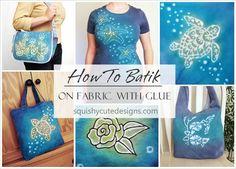 Glue resist dye - batik fabric with glue - tie dye shirts and bags