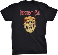 PJS President Evil Funny T-Shirt (Black, S) | Amazon.com