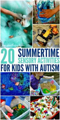 20 Summertime Sensory Activities for Kids With Autism Do your best to keep the kids busy. Here are some fun and relaxing activities that are great for all kids but especially kids with autism and sensory disorder. Summer Activities, Toddler Activities, Sensory Activities For Autism, Relaxation Activities, Activities For Autistic Children, Sorting Activities, Aba Therapy Activities, Sensory Games, Sensory Tools