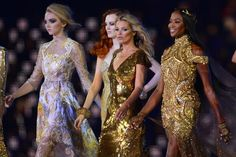 Lily Cole, Karen Elson, Kate Moss, and Naomi Campbell at the closing ceremony for the London Olympics 2012