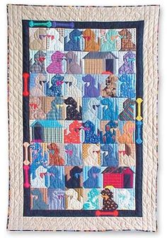 dog quilt  -I see so many cat quilt and now a dog quilt.  Adorable!!