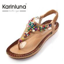 332db66592d20 2106 New Arrivals Flat With Summer Flip Flops Ethnic Style Beading Women  Beach Sandals Top Quality