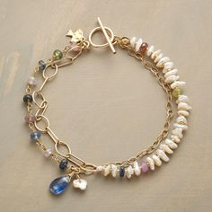 """COLOR FETE BRACELET--Our double strand bracelet gives new meaning to """"charm bracelet."""" Multicolor sapphires pair up with freshwater cultured pearls, dangling a brilliant kyanite briolette. 14kt gold filled links and toggle clasp. Handcrafted in USA exclusively for Sundance. 7-1/2""""L."""
