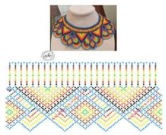 Diy Necklace Patterns, Beaded Necklace Patterns, Beading Tutorials, Beading Patterns, Beaded Crafts, Beaded Collar, Bead Jewellery, Bead Crochet, Loom Beading