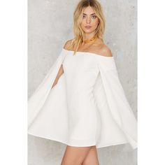 Nasty Gal Brushing Shoulders Cape Dress (2,450 THB) ❤ liked on Polyvore featuring dresses, white, very j, stretch white dress, white stretchy dress, white off shoulder dress and off shoulder dress