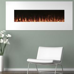 Bring the beauty and warmth of a remote controlled electronic fireplace to your living space with this stunning Northwest 50 inch White Fireplace Color Changing wit 3 Backgrounds, Wall Mount