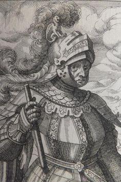 Caballero con armadura y escudo nobiliario. Siglo XVII