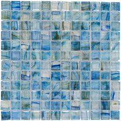 Elida Ceramica Lagoon Blue Uniform Squares Mosaic Glass Wall Tile (Common: 12-In X 12-In; Actual: 11.75-In X 11.75-In) C