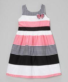 Pink & Black Stripe Babydoll Dress - Girls