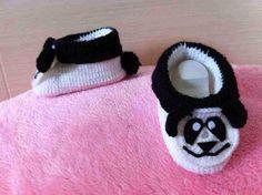 Crochet panda shoes