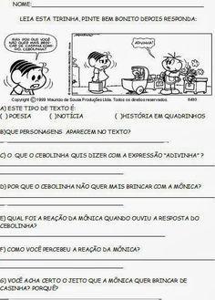 Educar X: Tirinhas turma da mônica - Interpretação de texto Learn Brazilian Portuguese, Bullying, Texts, Teaching, Education, Gabriel, Lp, Homeschooling, Virginia