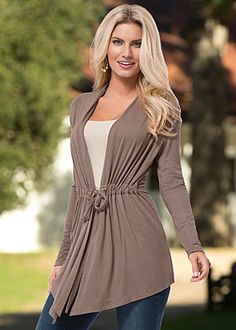 Affordable to all women A Tan drawstring waist cardigan by VENUS available in sizes XS - XL
