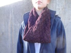 Moebius Cowl Scarf Deep Purple Chunky Soft Hand Knit by Girlpower