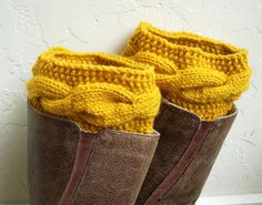 Mustard Boot cuffs  Yellow Leg Warmers  Cable by MaryKCreation, $38.00