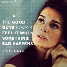 """Rizzoli&Isles Page Liked · 6 hrs ·    After so many years on the force, Jane's """"good guy"""" senses are fully developed. #TBT #RizzoliandIsles. 9/3/15"""