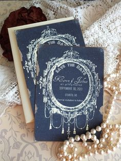 Vintage Wedding Save the Date Cards Handmade by avintageobsession on etsy on Etsy, $39.50