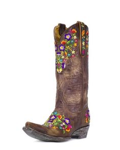 Pretty flowers in every color of the rainbow for every spring outfit.  http://www.countryoutfitter.com/products/26842-womens-sora-boot-brass-multi #cowgirlboots