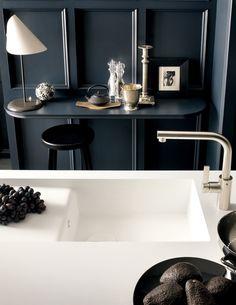 Arbeitsplatte Corian Küche Dupont Weiss Minimalistisch Rechteckig Schlicht  #wohnideenkuche #kitchen #DuPont #design