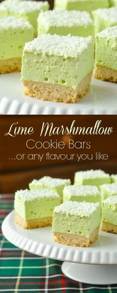 Marshmallow Cookie Bars - easy to make in any flavour you like. Marshmallow Cookie Bars - easy to make in any flavour you like. The shortbread cookie bottom gets topped by a homemade marshmallow layer made from your favourite flavour of Jello! Brownie Desserts, Oreo Dessert, Mini Desserts, Marshmallow Desserts, Coconut Dessert, Jello Desserts, Low Carb Dessert, Recipes With Marshmallows, Homemade Marshmallows