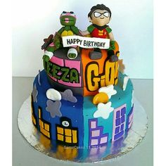 TMNT and Teen Titans Go Cake