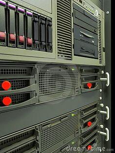 Computer servers rack in data center