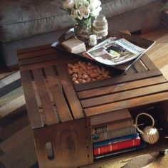 DIY Vintage Crate Coffee Table {Coffee Table Decor} This is an awesome diy project where you'll take 4 crates and create a unique and stylish coffee table! Wooden Crate Coffee Table, Unique Coffee Table, Cool Coffee Tables, Decorating Coffee Tables, Coffee Table Design, Wooden Crates, Coffe Table, Wooden Boxes, Homemade Coffee Tables