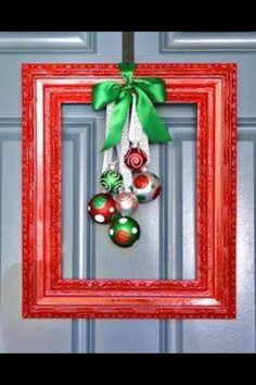 Frame with bulbs attached with ribbon